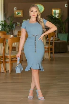 Vestido Azul Kauly Linho Com Elastano e Cinto Cordão 3003