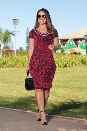 Vestido Bandagem Animal Print com Forro Luciana Pais 92494
