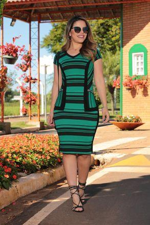 Vestido Bandagem Listrada com Forro Luciana Pais 92489