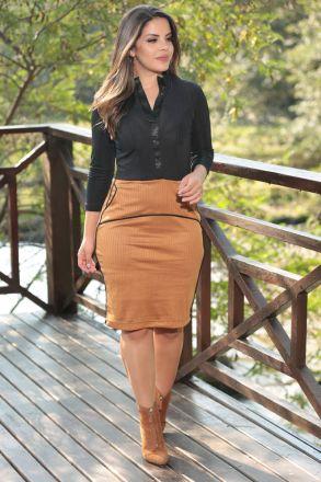 Vestido Bicolor Suede Detalhe Gola Alta Luciana Pais 92470