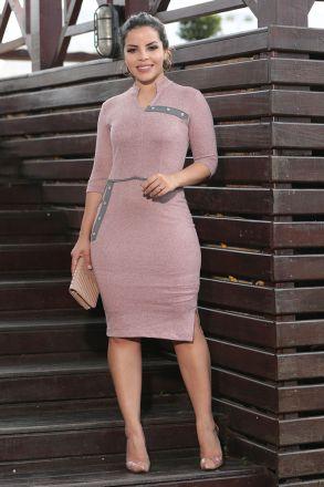 Vestido Cachimirre e Detalhe Recortes Cinza Luciana Pais 92482