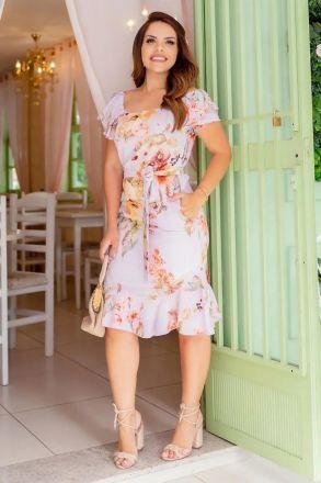 Vestido Ciganinha Crepe Cinto Luciana Pais 92644