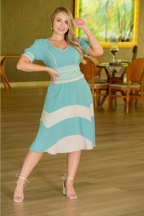 Vestido Color Block Kauly Crepe Amassado Detalhe Elastico 3010