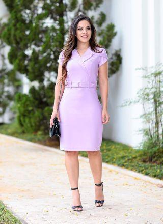 Vestido com Abotoamento Monia Moda Evangélica 85104