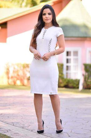 Vestido com Aplicações e Recortes  Monia Moda Evangélica 84105