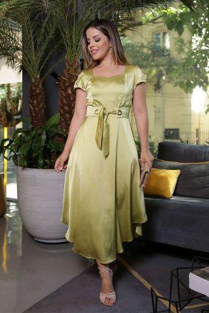 Vestido Crepe Cetim Maz Forrado Kauly 2583 Verde