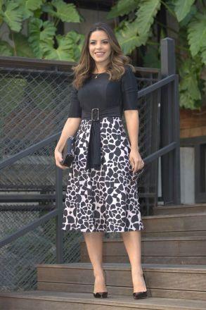 Vestido Crepe Malha Estampa Animal Print Luciana Pais 92451