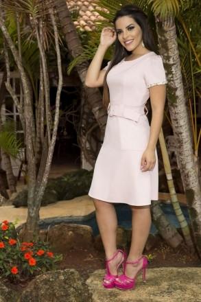 Vestido Crepe e Renda Manga Luciana Pais 92159