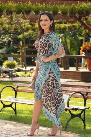 Vestido Crepe Estampa Exclusiva de Lenço com Barra Assimétrica Kauly 2515