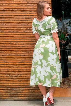 Vestido Crepe Estampado Detalhe Renda Cinto Kauly 2948