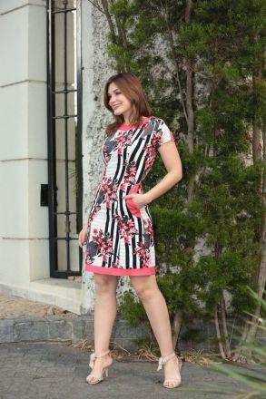 Vestido Crepe Estampado Kauly Moda Evangélica 2343