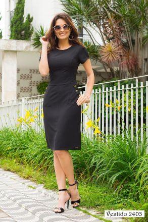 Vestido Crepe Forrado com Bolso Kauly Moda Evangélica 2403