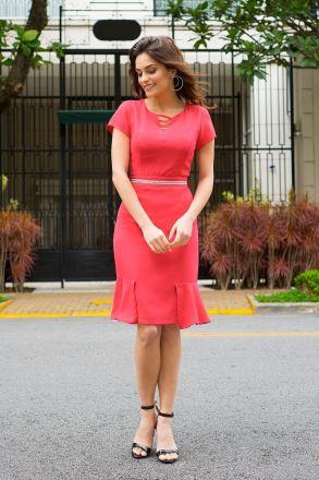 Vestido Crepe Forrado com Cinto Kauly Moda Evangélica 2401