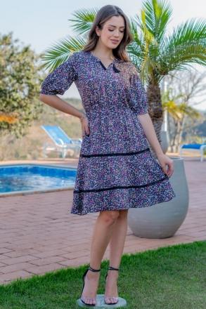 Vestido Crepe Luciana Pais Detalhes Renda 93150