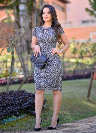 Vestido de Renda com Pregas Monia Moda Evangélica 84110