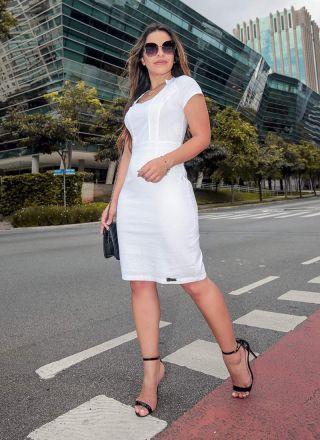 Vestido Decote Vazado Monia Moda Evangélica 86101