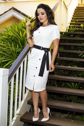 Vestido Cotton Kauly Moda Evangélica 2232