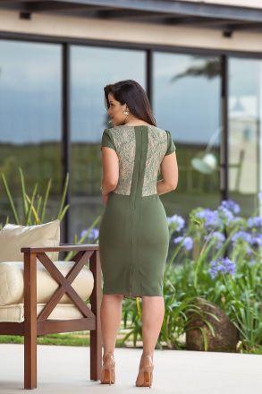 Vestido em Crepe com Forro Detalhe Renda Kauly Moda Evangélica 2431