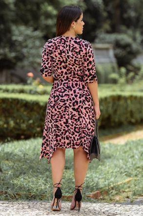 Vestido em Crepe Estampado com Forro Kauly 2488