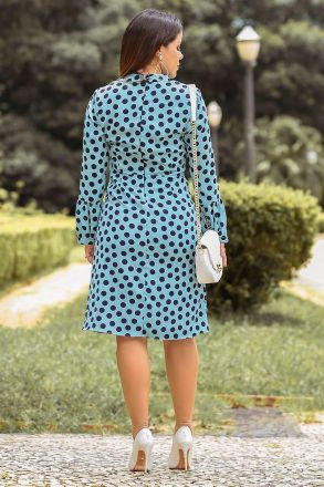Vestido em Crepe Estampado com Forro Kauly Moda Evangélica 2489