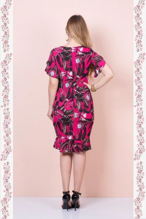 Vestido em Crepe Floral Kauly Moda Evangélica 2383