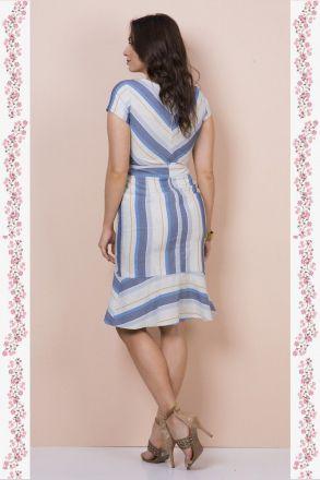 Vestido em Linho com Recortes Kauly 2365