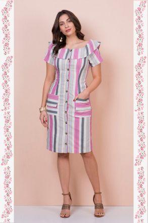Vestido em Linho Listrado com Detalhe Botoes Kauly 2351