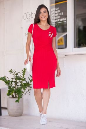 Vestido em Malha Canelada com Aplique Luciana Pais 92373
