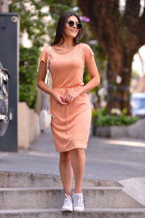 Vestido em Malha Canelada com Forro Detalhe Cintura LP 92267