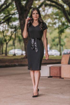 Vestido em Malha com Cinto Vinil Luciana Pais 92350