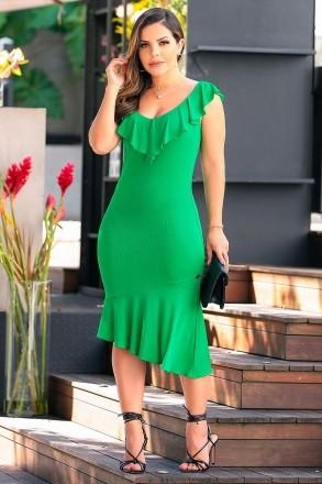 Vestido em Malha Detalhe Babados Luciana Pais 92399 Verde