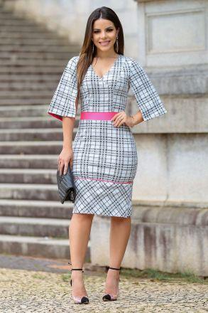 Vestido em Malha Jacquard Detalhe Neon Kauly 2485
