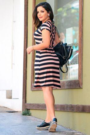 Vestido em Malha Listrada com Detalhe Liso Luciana Pais 92380