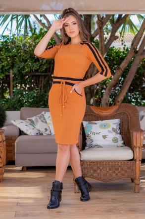 Vestido em Malha Mostarda Luciana Pais 93047