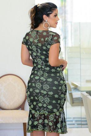 Vestido em Renda com Forro Detalhe Vivos Kauly 2446