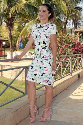 Vestido em Sarja Estampada com Elastano Detalhes Vivos Bolso Faca com Forro Luciana Pais 92600