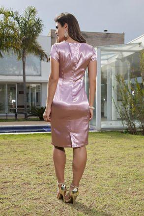 Vestido em Shantung com Detalhe Renda e Forro Kauly 2116