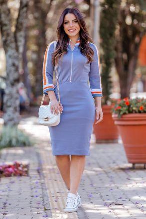 Vestido Em Tricôt Rayon Com Detalhes Em Retilínea Luciana Pais 92787 Lilas