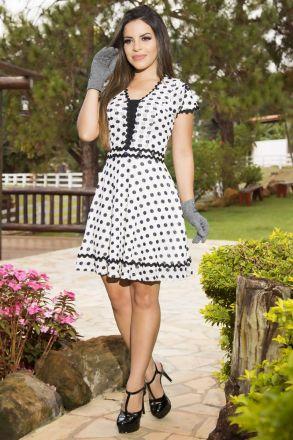 Vestido em Tule Poá com Forro LP 92152
