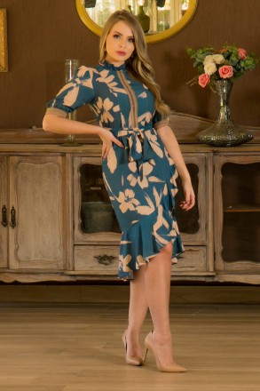 Vestido em Viscose Detalhe em Renda Kauly 2875 Azul