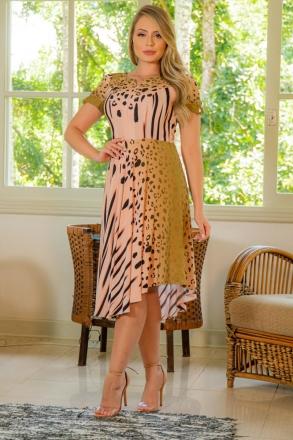 Vestido Estampado Viscose Kauly Barra Assimétrica Zíper Lateral 3013