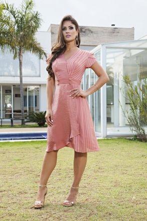 Vestido Evasê em Crepe com Forro Kauly 2133