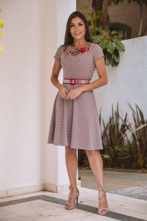 Vestido Evase em Malha com Detalhe Aplique Luciana Pais 92363