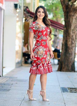 Vestido Florido com Babado Monia Moda Evangélica 84156