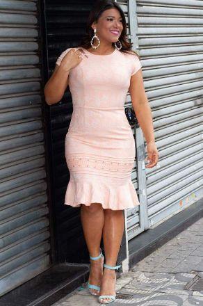 Vestido Jacquard em Linho Monia Moda Evangélica 85100