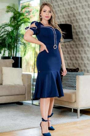Vestido Kauly Alfaiataria Azul Detalhes Vivos e Cinto Fixo 3135