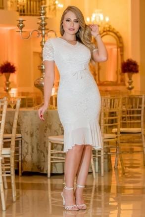 Vestido Kauly Branco Renda com Recortes em Tule 2968