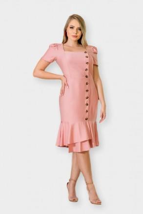 Vestido Linho Barra Assimétrica e Botões Frontais Kauly 2905 Rosa