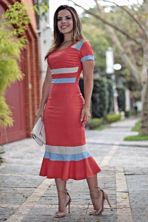 Vestido Linho com Strech Midi Moda Evangélica Kauly 2650
