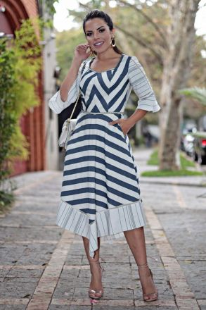 Vestido Linho Listrado Moda Evangélica Kauly 2645